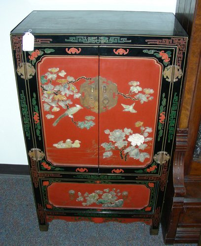 OLD CHINESE CARVED COROMANDEL AND HARDSTONE CABINET