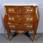 FRENCH HAND CARVED AND INLAID COMMODE WITH MARBLE TOP