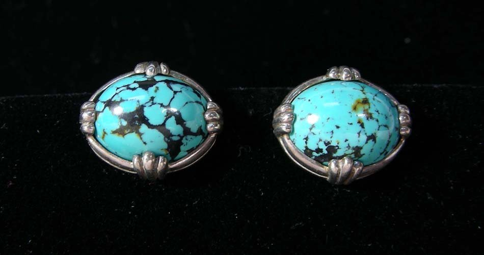 PAIR FINE STERLING SILVER AND TURQUOISE EARRINGS