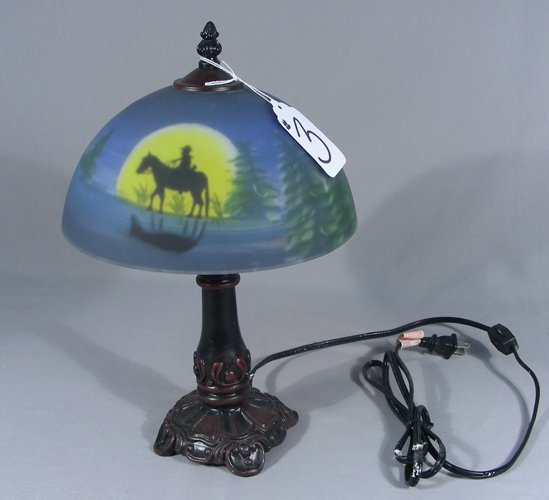 SMALL SCALE REVERSED PAINTED TABLE LAMP