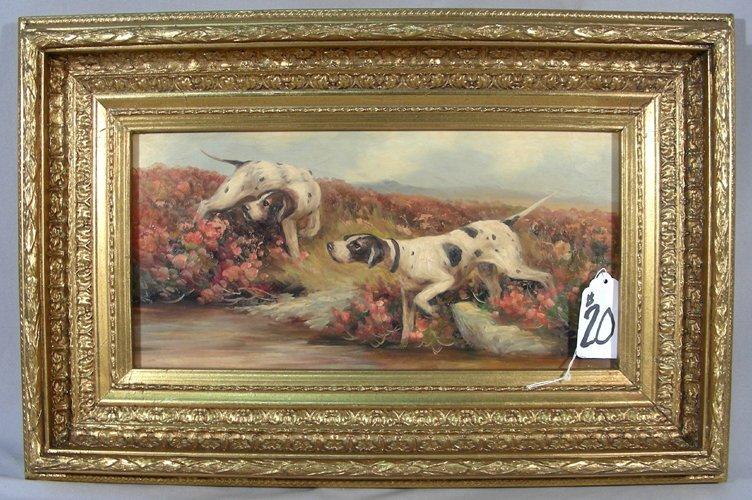 OIL ON BOARD:  TWO DOGS IN A FIELD OF FLOWERS