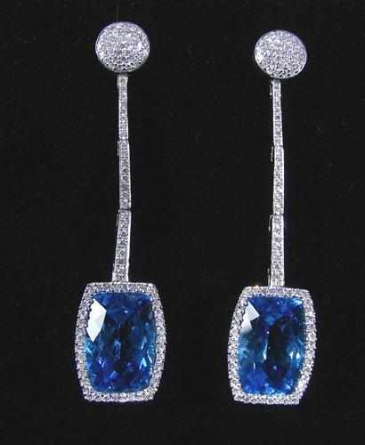 PAIR FINE 18K WHITE GOLD, BLUE TOPAZ AND DIAMOND