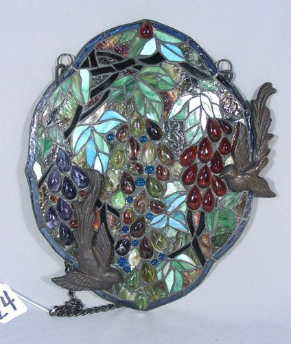 BRONZE AND LEADED GLASS LIGHT CATCHER