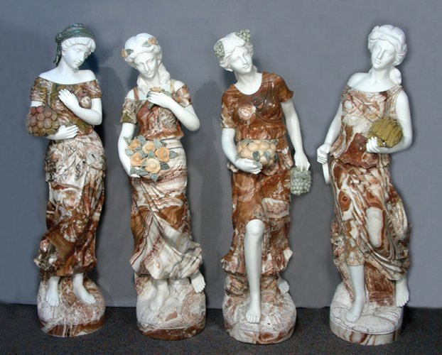 SET OF FOUR OUTSTANDING ITALIAN CARVED MARBLE