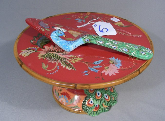 PAINTED PEACOCK CAKE PLATE WITH SERVER