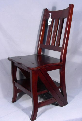 UNUSUAL CARVED MAHOGANY CHAIR/STEP LADDER