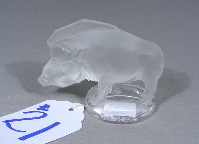 FRENCH LALIQUE CRYSTAL SCULPTURE OF BOAR