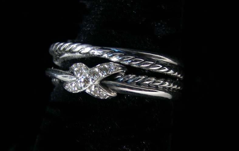 DESIGNER DAVID YURMAN STERLING SILVER AND DIAMOND RING