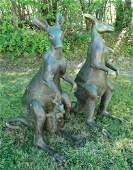 PAIR HEAVY VINTAGE BRONZE SCULPTURES OF KANGAROOS