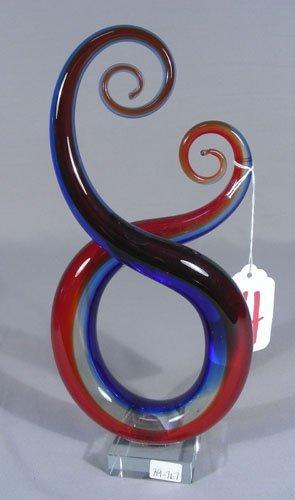 HAND BLOWN ART GLASS SWIRL SCULPTURE