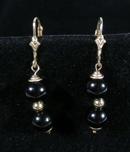 PAIR LADIES 14K YELLOW GOLD AND ONYX EARRINGS