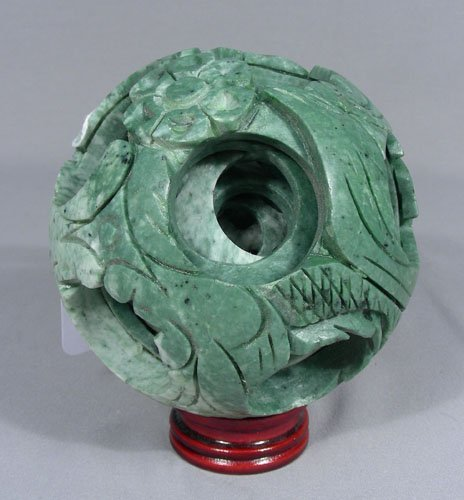 """UNUSUAL CHINESE JADE """"BALL IN BALL"""" SCULPTURE"""