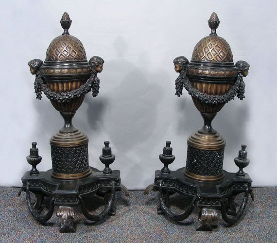 PAIR OF SPECTACULAR FRENCH BRONZE FIGURAL ANDIRONS