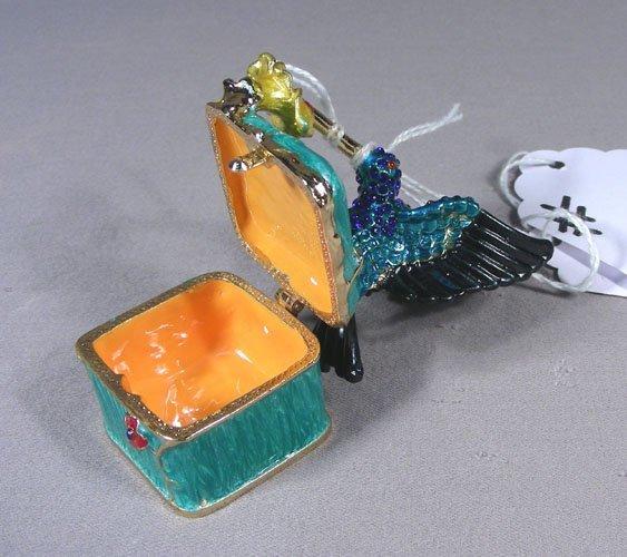 METAL AND ENAMEL HUMMINGBIRD BOX