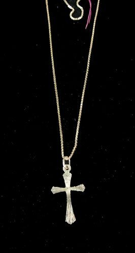 14K YELLOW GOLD NECKLACE WITH CROSS PENDANT
