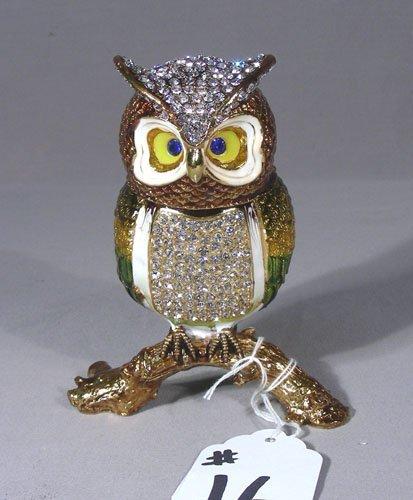 METAL, ENAMEL AND RHINESTONE OWL BOX