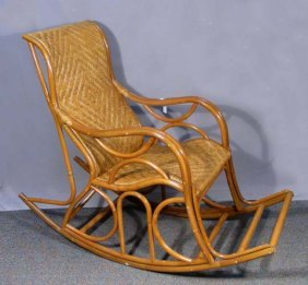 Fine Wicker And Bamboo Rocking Chair