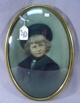 Antique Convex Portrait Of Young Child