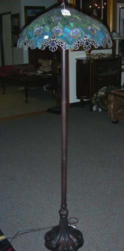 "Metal And Leaded Glass ""peacock"" Motif Floor Lamp"