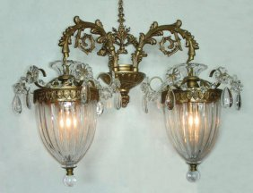 Pair Baccarat Style Crystal Sconces