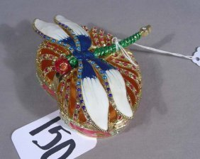 Fine Enamel, Metal And Rhinestone Dragonfly Box