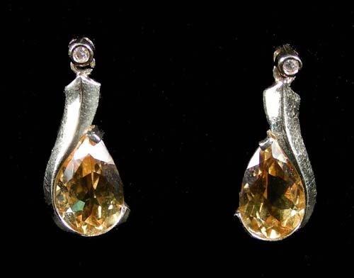 PAIR LADIES 14K YELLOW GOLD, CITRINE & DIAMOND EARRINGS