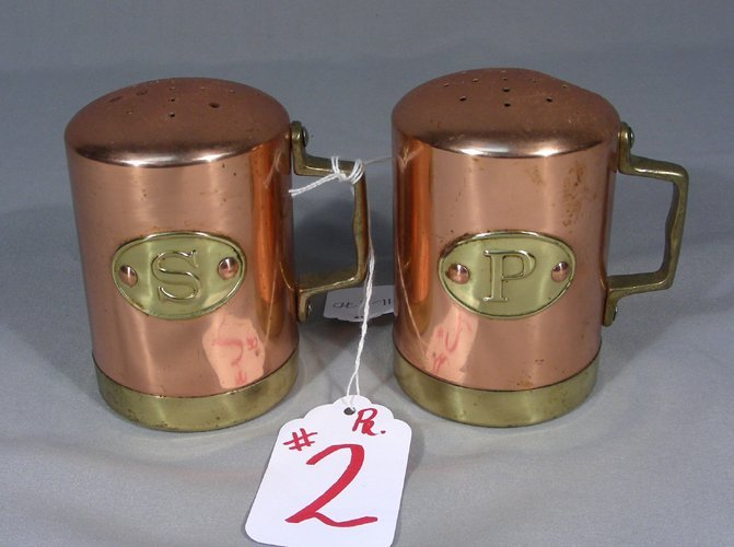 PAIR VINTAGE COPPER AND BRASS SALT AND PEPPER SHAKERS