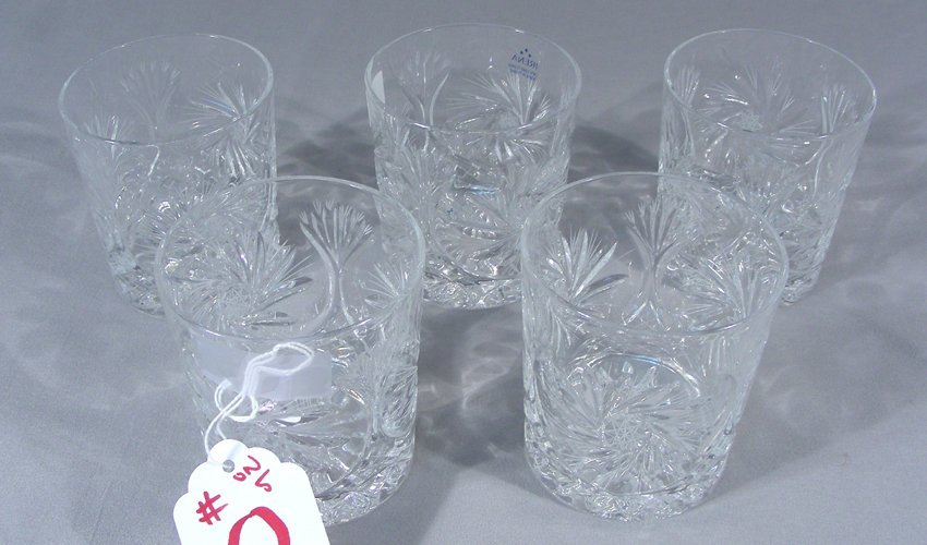 FIVE CUT CRYSTAL WHISKY TUMBLERS