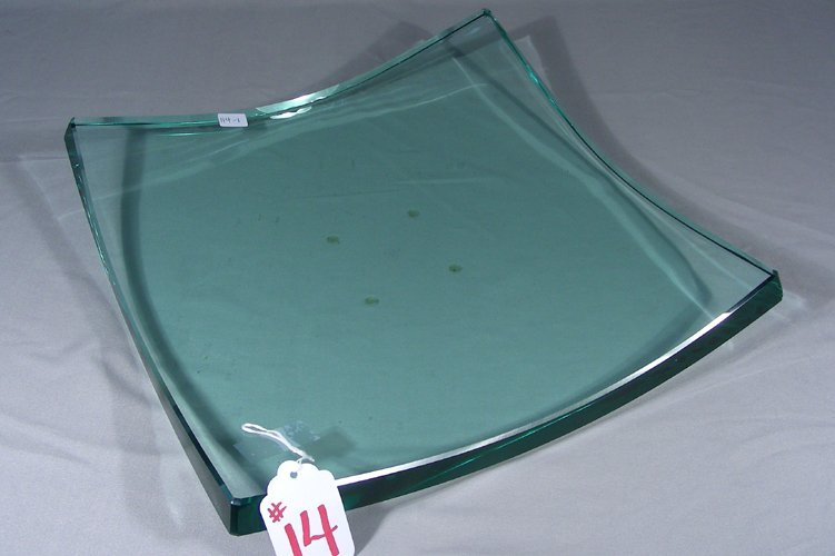 HEAVY, MODERN HAND SIGNED GLASS TRAY
