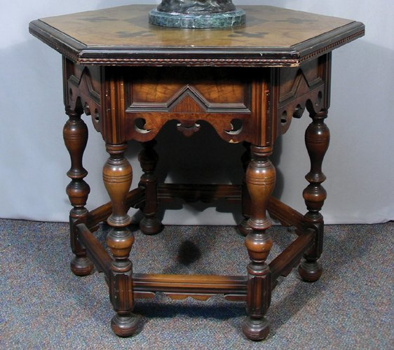 VINTAGE HAND CARVED SPANISH OCTAGONAL TABLE