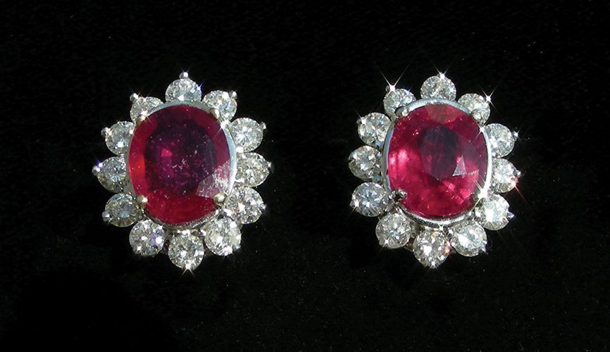PAIR LADIES 18K WHITE GOLD, RUBY AND DIAMOND EARRINGS