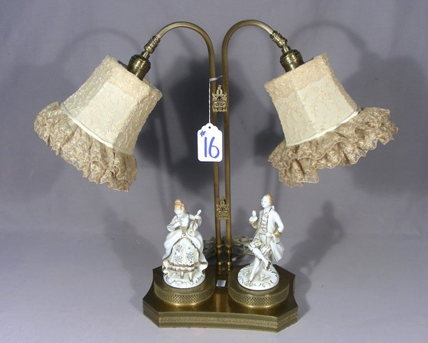 ANTIQUE BRASS AND PORCELAIN TWO LIGHT TABLE LAMP