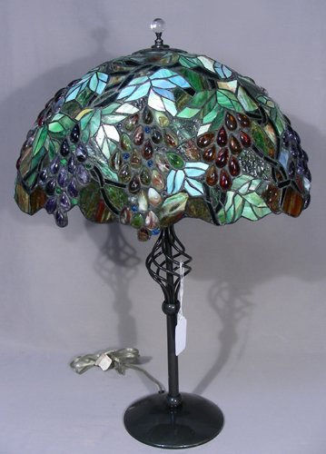 VERY UNUSUAL HEAVY METAL AND LEADED GLASS TABLE LAMP