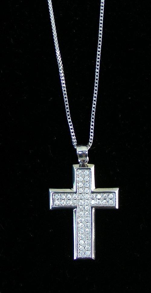14K WHITE GOLD & DIAMOND CROSS NECKLACE