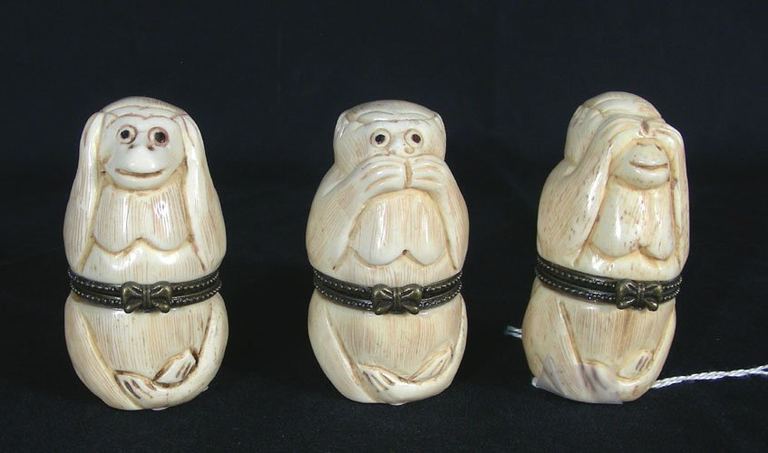 SET OF THREE CHINESE HAND CARVED BONE MONKEY BOXES