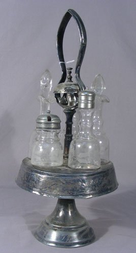 ANTIQUE SILVER PLATED CRUET SET WITH BUTLERS BELL