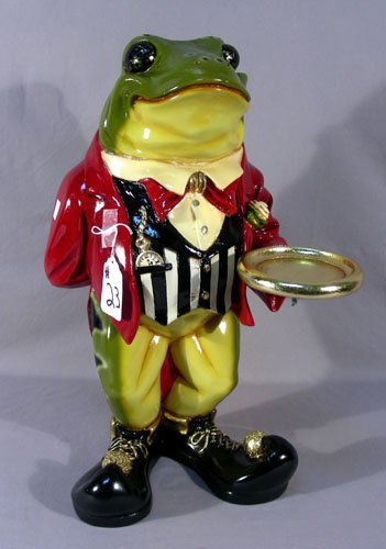 HUMOROUS PAINTED COMPOSITION FROG BUTLER