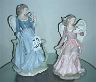 PAIR PORCELAIN ANGEL SCULPTURES