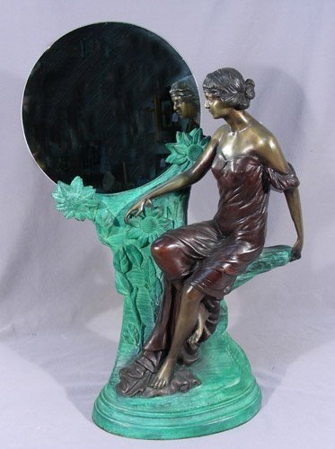 ART NOUVEAU STYLE BRONZE SCULLPTURE OF WOMAN WITH MIRRO