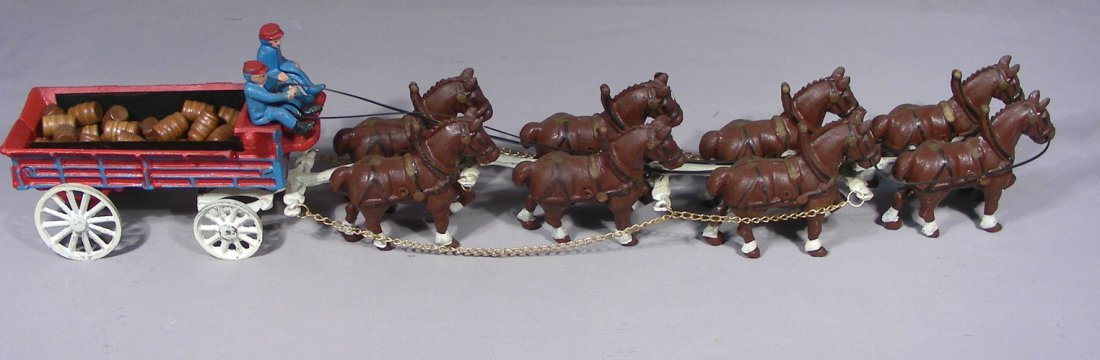 """VINTAGE HAND PAINTED CAST IRON """"ANHEUSER-BUSCH"""" HORSES"""
