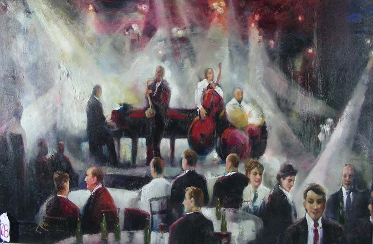 ORIGINAL OIL ON CANVAS: TWO MUSICIANS