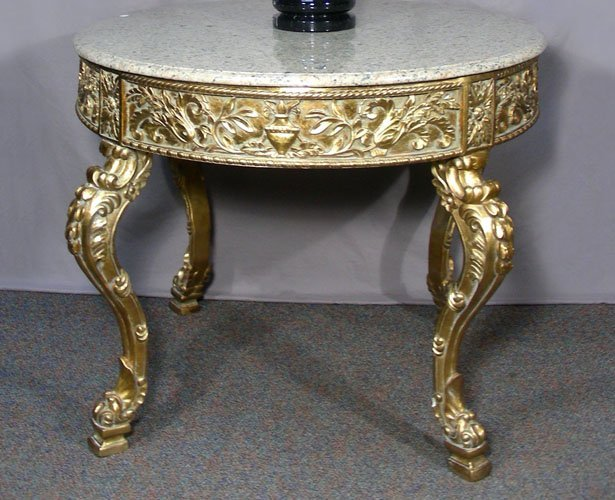 ITALIAN HAND CARVED GILT TABLE WITH MARBLE TOP