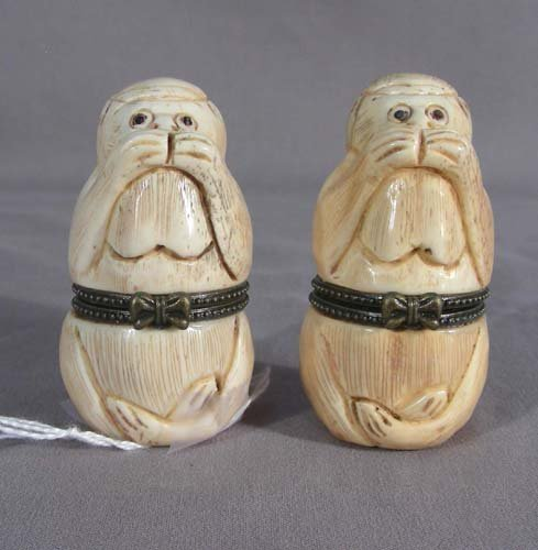 TWO HAND CARVED CHINESE BONE MONKEY PILL BOXES