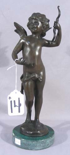 """ADORABLE HEAVY BRONZE SCULPTURE """"CUPID WITH BOW"""""""