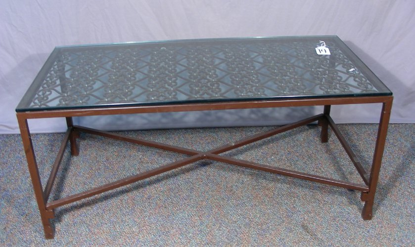 HEAVY CAST IRON COFFEE TABLE WITH GLASS TOP