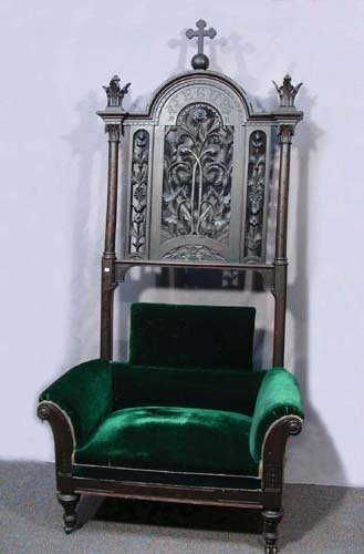 OUTSTANDING ANTUQIE CARVED GOTHIC STYLE RELIGIOUS CHAIR