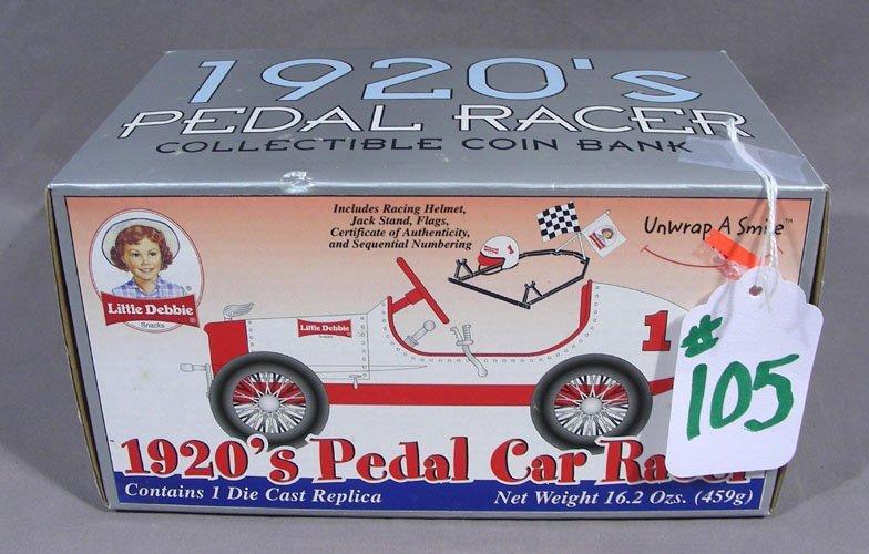 RARE 1920'S LITTLE DEBBIE PEDDLE RACE CAR BANK