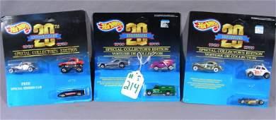 THREE VINTAGE DIE CAST HOT WHEELS 20TH ANNIVERSARY CARS