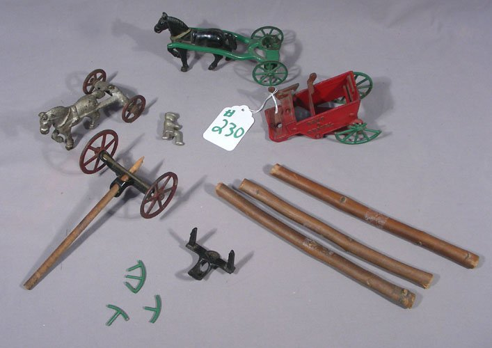VINTAGE CAST IRON HORSE BUGGY AND LOG HOLDER