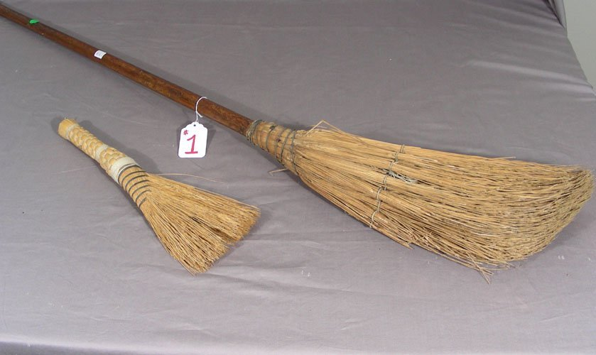 TWO ANTIQUE BROOMS